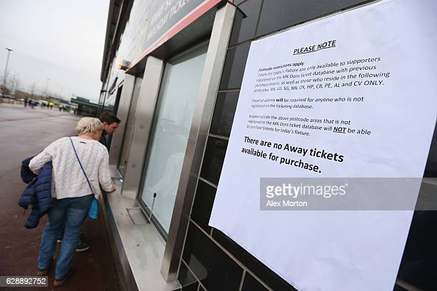 Aticketing notice is seen prior to the Sky Bet League One match between Milton Keynes Dons and AFC Wimbledon at StadiumMK on December 10 2016 in...