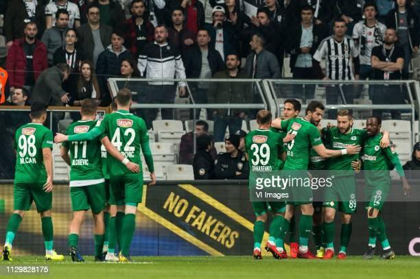 Atiker Konyaspor celebrate a goal during the Turkish Spor Toto Super Lig football match between Besiktas JK and Atiker Konyaspor on March 10, 2019 at...