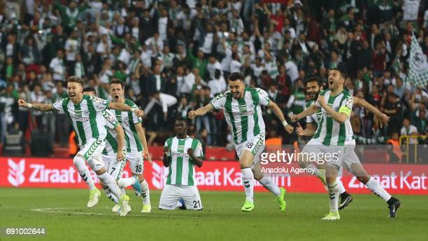 Atiker Konyaspor footballers celebrate after they won the Ziraat Turkish Cup Final match between Medipol Basaksehir and Atiker Konyaspor by penalty...