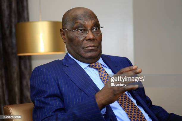 Atiku Abubakar Nigeria's main opposition presidential candidate gestures during a Bloomberg Television interview in Lagos Nigeria on Wednesday Jan 16...