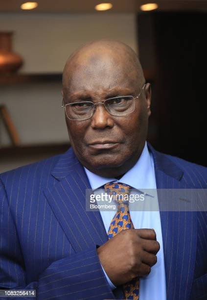 Atiku Abubakar Nigeria's main opposition presidential candidate arrives for a Bloomberg Television interview in Lagos Nigeria on Wednesday Jan 16...