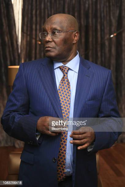 Atiku Abubakar Nigeria's main opposition presidential candidate prepares for a Bloomberg Television interview in Lagos Nigeria on Wednesday Jan 16...