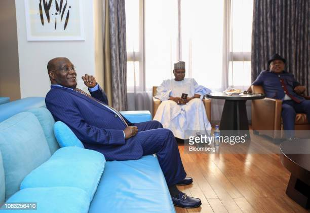 Atiku Abubakar Nigeria's main opposition presidential candidate left prepares for a Bloomberg Television interview in Lagos Nigeria on Wednesday Jan...