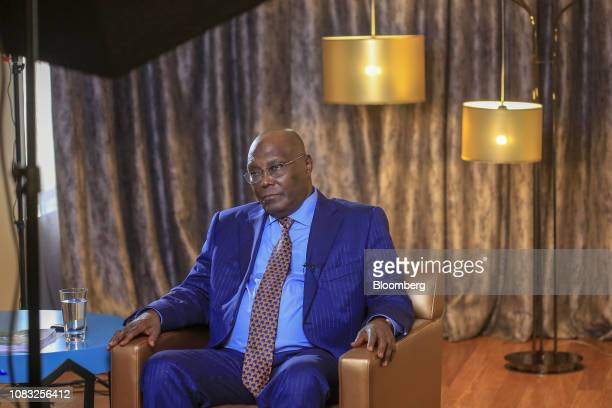Atiku Abubakar Nigeria's main opposition presidential candidate pauses during a Bloomberg Television interview in Lagos Nigeria on Wednesday Jan 16...