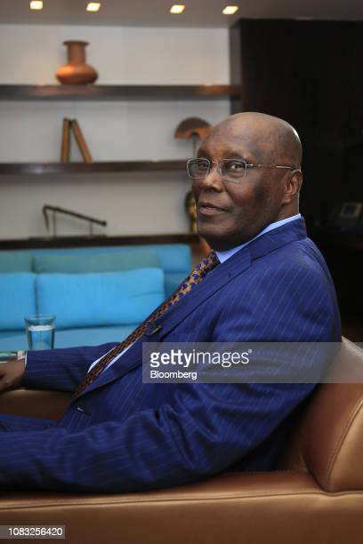 Atiku Abubakar Nigeria's main opposition presidential candidate poses for a photograph ahead of a Bloomberg Television interview in Lagos Nigeria on...