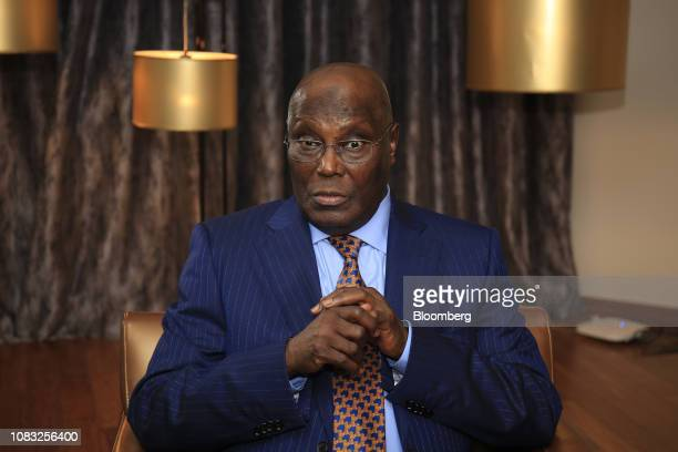 Atiku Abubakar Nigeria's main opposition presidential candidate speaks during a Bloomberg Television interview in Lagos Nigeria on Wednesday Jan 16...