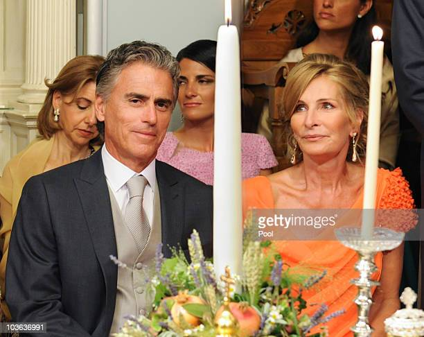 Atilio Brillembourg and MarieBlanche Brillembourg attend the wedding ceremony of their daughter Tatiana Blatnik to Prince Nikolaos of Greece in the...