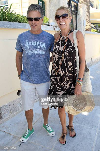 Atilio Brillembourg and Marie-Blanche Brillembourg leave the Poseidon Hotel on the island of Spetses on August 24, 2010 in Spetses, Greece.The small...