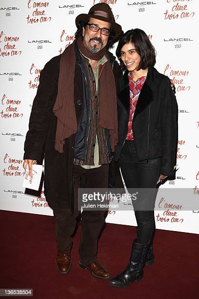 Atiq Rahimi and his daughter Alice attend 'L'Amour Dure Trois Ans' Paris Premiere at Le Grand Rex on January 7 2012 in Paris France
