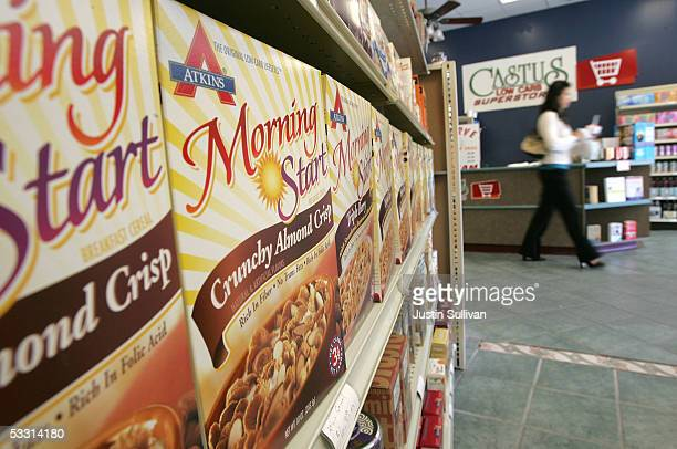 Atkins food products are seen on display at the Castus Low Carb Superstore August 1 2005 in San Ramon California Hurt by waning popularity of its...