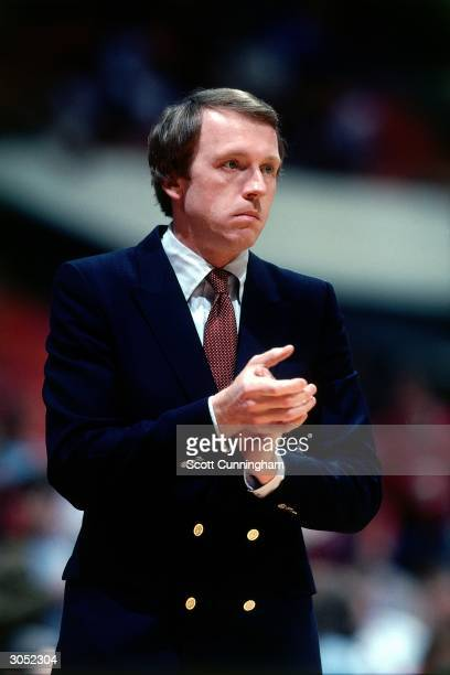 Head Coach of the Philadelphia 76ers Billy Cunningham watches the action from sidecourt against the Atlanta Hawks at the Omni circa 1982 in Atlanta...