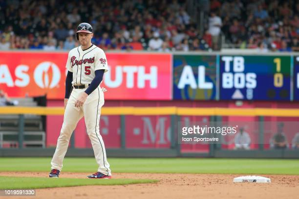 Atlanta Braves All-Star first basemaan Freddie Freeman leads off second base during the MLB game between the Atlanta Braves and the Colorado Rockies...