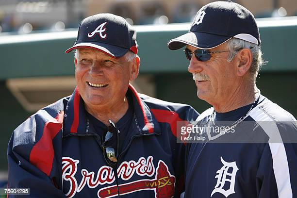 Atlanta Braves Bobby Cox and Detroit Tigers Jim Leyland talk prior to the start of the Spring Training game at Joker Marchant Stadium in Lakeland...