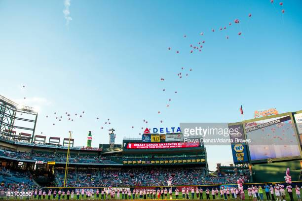 Atlanta Braves Breast Cancer Awareness Day takes place before the game against the San Diego Padres at Turner Field on September 14 2013 in Atlanta...