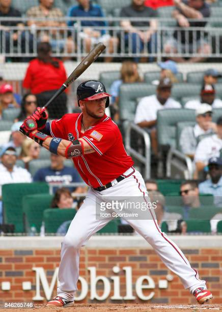 Atlanta Braves catcher Tyler Flowers bats during the major league baseball game between the Atlanta Braves and the Miami Marlins on September 10 at...