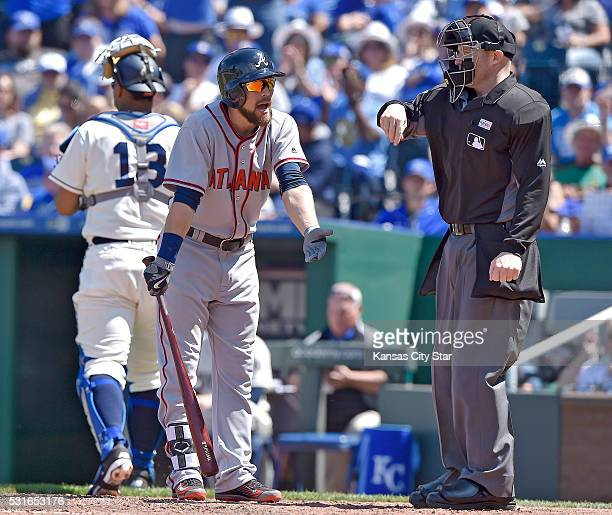 Atlanta Braves' Ender Inciarte reacts to being called out looking at strike three to end the top of the sixth inning by home plate umpire Mike...