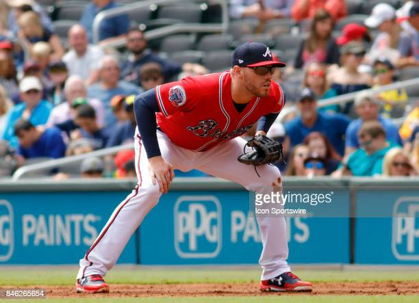 Atlanta Braves first baseman Freddie Freeman during the major league baseball game between the Atlanta Braves and the Miami Marlins on September 10...
