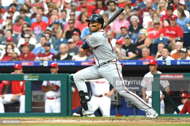 Atlanta Braves Infield Johan Camargo hits a double during the MLB baseball game between the Philadelphia Phillies and the Atlanta Braves on May 23...