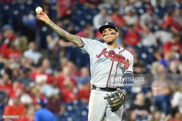 Atlanta Braves Infield Johan Camargo makes a throw to first during the MLB baseball game between the Philadelphia Phillies and the Atlanta Braves on...