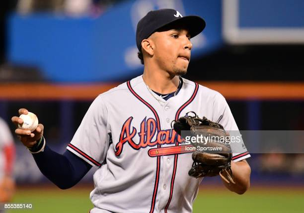 Atlanta Braves Infield Johan Camargo throws to 1st during a MLB game between the New York Mets and Atlanta Braves on September 26 2017 at Citi Field...