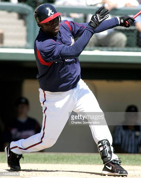 Atlanta Braves infielder Edgar Renteria connects for a hit in a spring training game against the Los Angeles Dodgers Wednesday March 15 2006 at Wide...