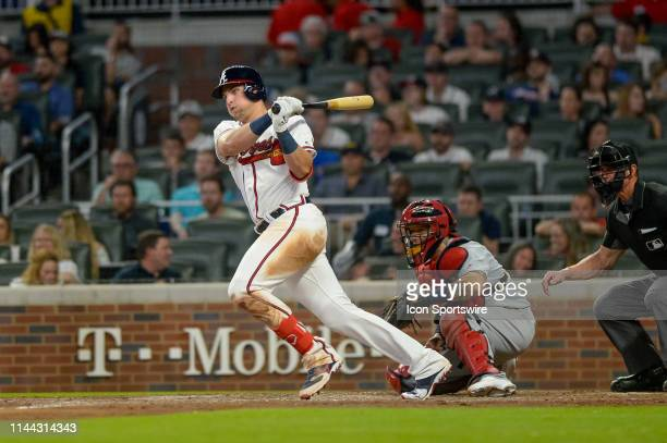 Atlanta Braves left fielder Austin Riley during a regular season MLB game between the Atlanta Braves and the St Louis Cardinals on May 16 2019 at...