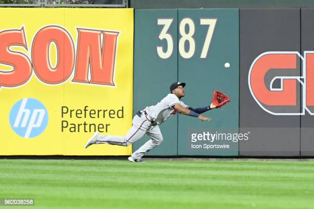 Atlanta Braves Outfield Ronald Acuna Jr makes a diving catch during the MLB baseball game between the Philadelphia Phillies and the Atlanta Braves on...