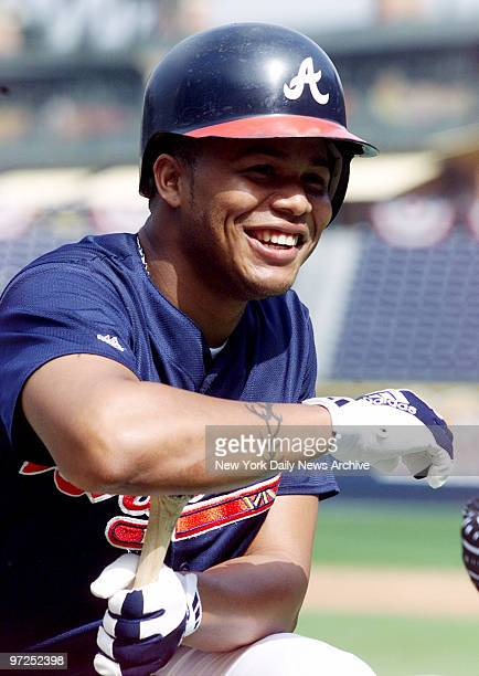 Atlanta Braves' outfielder Andruw Jones at practice for the NLCS opener against the New York Mets in Atlanta