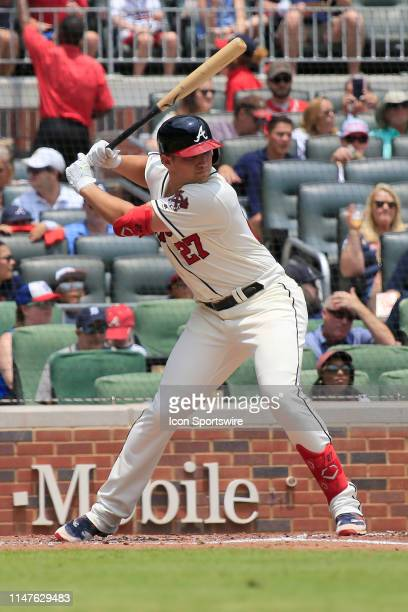 Atlanta Braves Outfielder Austin Riley bats during the MLB game between the Atlanta Braves and the Detroit Tigers on June 2 2019 at SunTrust Park in...