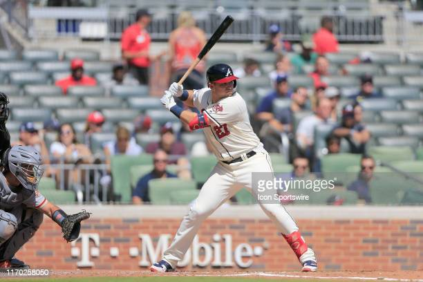 Atlanta Braves Outfielder Austin Riley bats during the MLB game between the San Francisco Giants and the NL East Division Champion Atlanta Braves on...