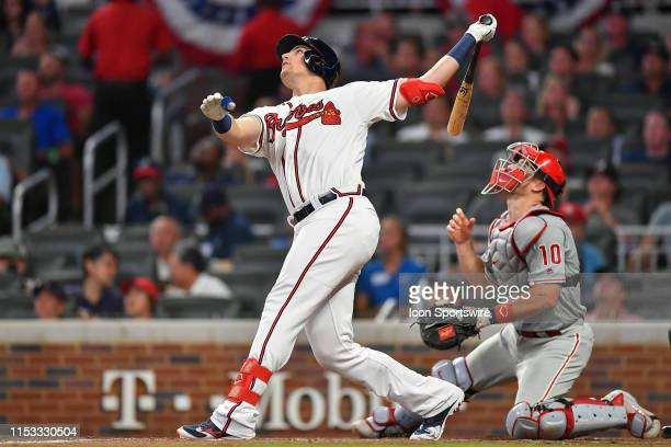 Atlanta Braves outfielder Austin Riley hits a high fly ball during the game between the Atlanta Braves and the Philadelphia Phillies on July 2nd 2019...