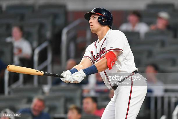 Atlanta Braves outfielder Austin Riley hits a home run in the 8th inning during the game between the Atlanta Braves and the Washington Nationals on...