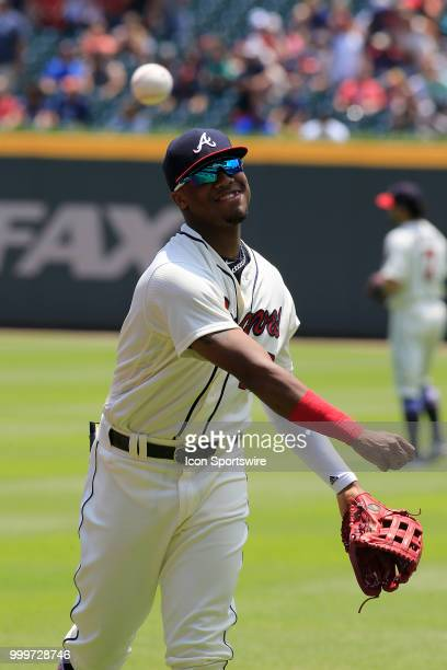 Atlanta Braves Outfielder Ronald Acuna Jr prior to the MLB game between the Arizona Diamondbacks and the Atlanta Braves on July 15 at Suntrust Park...