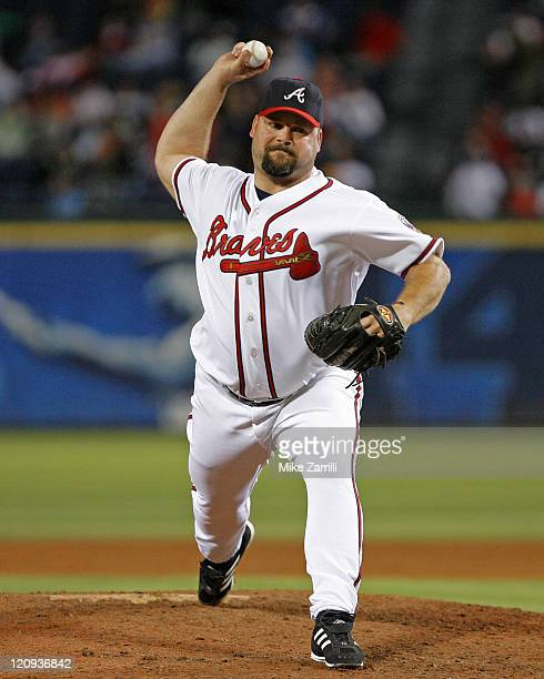 Atlanta Braves P Bob Wickman during the game between the Atlanta Braves and the Houston Astros at Turner Field in Atlanta GA on September 29 2006 The...