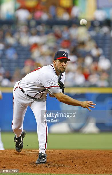 Atlanta Braves P John Smoltz delivers a pitch during the game between the Atlanta Braves and the Florida Marlins at Turner Field in Atlanta GA on...