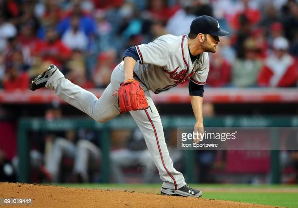 Atlanta Braves pitcher Jaime Garcia in action during the first inning of a game against the Los Angeles Angels of Anaheim on May 31 played at Angel...