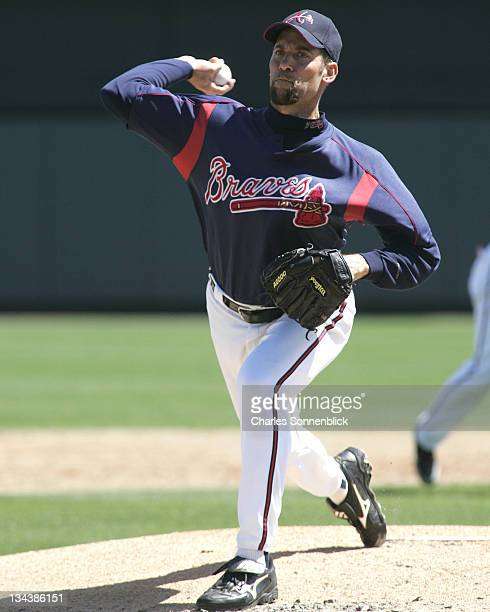 Atlanta Braves pitcher John Smoltz warms up in a spring training game against the Los Angeles Dodgers Wednesday March 15 2006 at Wide World of Sports...