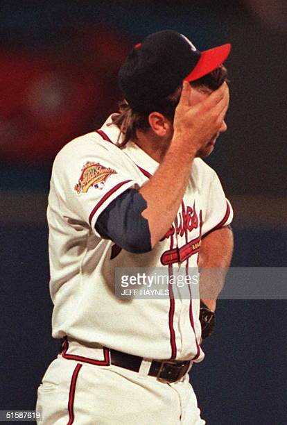 Atlanta Braves pitcher Mark Wohlers reacts to giving up a seventh inning threerun home run to Jim Leyritz of the New York Yankees in Game Four of the...