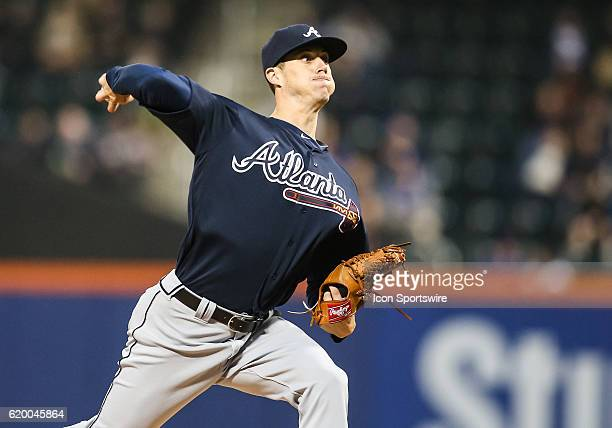 Atlanta Braves Pitcher Matt Wisler [10308] in action during the game between Atlanta Braves and the New York Mets at Citi Field in Flushing NY
