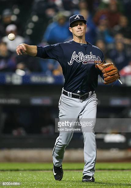Atlanta Braves Pitcher Matt Wisler [10308] throws out New York Mets Catcher Kevin Plawecki [9785] on a comeback to the mound during the eighth inning...