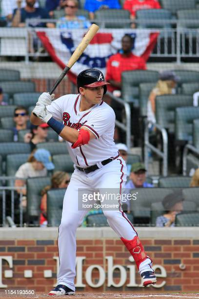 Atlanta Braves Rookie Outfielder Austin Riley hits a home run during the regular season MLB game between the Atlanta Braves and the Miami Marlins on...