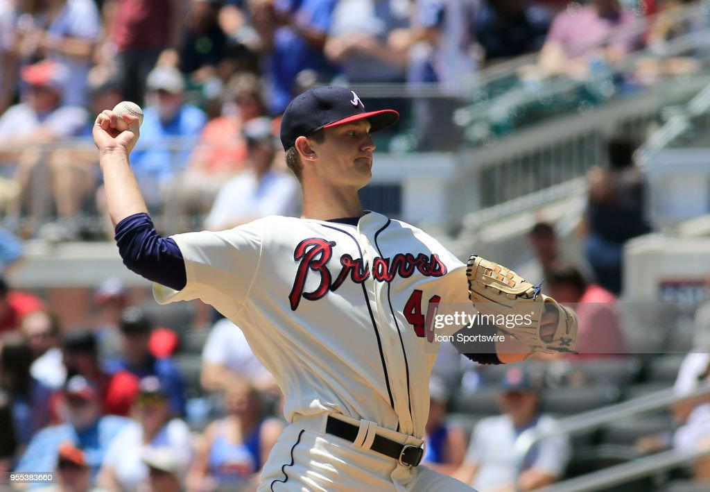 Atlanta Braves Rookie Starting pitcher Mike Soroka (40) during the MLB game between the Atlanta Braves and the San Francisco Giants on May 6, 2018, at SunTrust Park in Atlanta, GA.