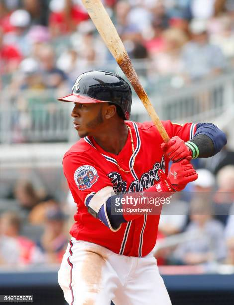Atlanta Braves second baseman Ozzie Albies bats during the major league baseball game between the Atlanta Braves and the Miami Marlins on September...