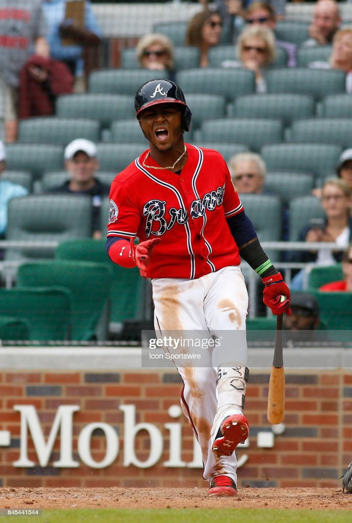 Atlanta Braves second baseman Ozzie Albies (1) fouls a ball off his foot during the major league baseball game between the Atlanta Braves and the Miami Marlins on September 10, 2017, at SunTrust Park in Atlanta, GA.