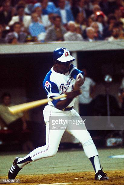 Atlanta Braves slugger Hank Aaron swings during the 1974 AllStar Game at Forbes Field in Pittsburgh Pennsylvania On April 8th Aaron became the...