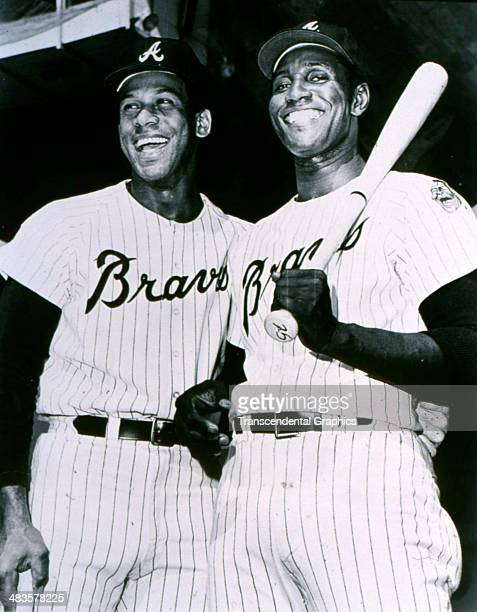 Atlanta Braves sluggers Orlando Cepeda left and Rico Carty pose together in 1972 in Atlanta Georgia