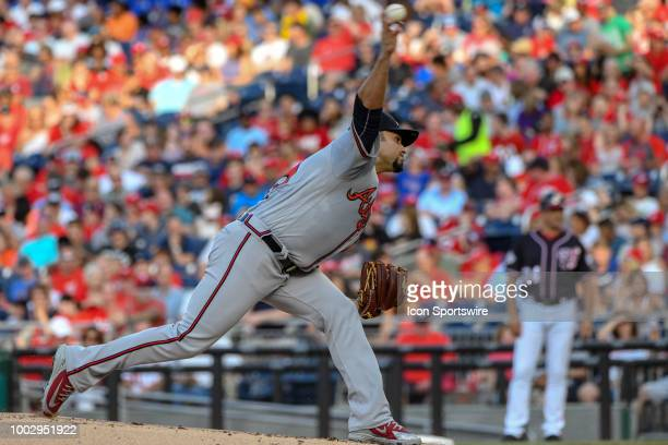 Atlanta Braves starting pitcher Anibal Sanchez pitches in the first inning during the game between the Atlanta Braves and the Washington Nationals on...