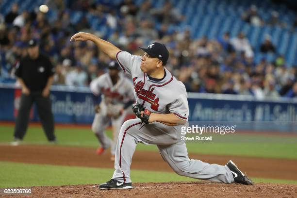 TORONTO ON MAY 15 Atlanta Braves starting pitcher Bartolo Colon pitches as the Toronto Blue Jays play the Atlanta Braves at the Rogers Centre in...