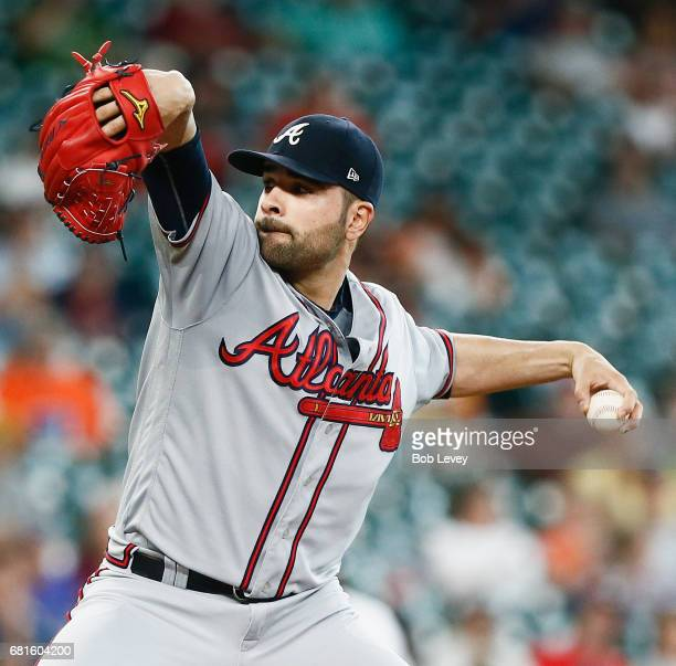 Atlanta Braves starting pitcher Jaime Garcia pitches in the first inning against the Houston Astros at Minute Maid Park on May 10 2017 in Houston...