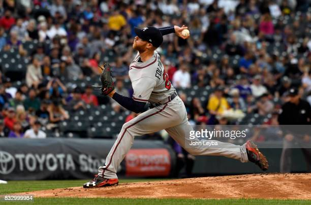 Atlanta Braves starting pitcher Mike Foltynewicz delivers a pitch in the first inning against the Colorado Rockies on August 16 2017 in Denver...